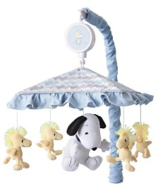 Lambs & Ivy My Little Snoopy and Woodstock Chevron Musical Baby Crib Mobile