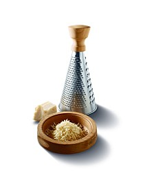 Stainless Steel and Oak Cheese Grater with Base