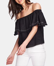 1.STATE Ruffled Off-The-Shoulder Linen Top