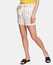 1.STATE Striped Belted Shorts
