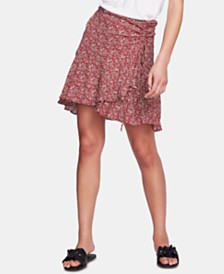1.STATE Printed Ruched Faux-Wrap Skirt