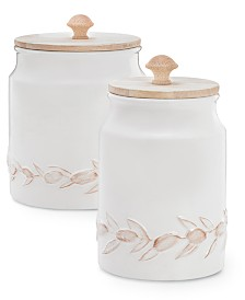 Martha Stewart Collection La Dolce Vita Textured Canisters, Set of 2, Created for Macy's