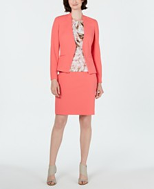 Calvin Klein Asymmetrical Jacket, Printed Top & Pencil Skirt