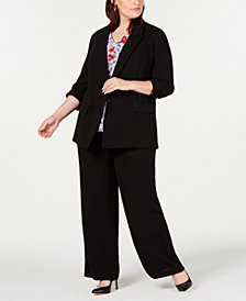 Bar III Plus Size Blazer, Floral-Print Blouse & Wide-Leg Pants, Created for Macy's