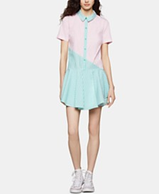 BCBGeneration Cotton Colorblocked Shirtdress