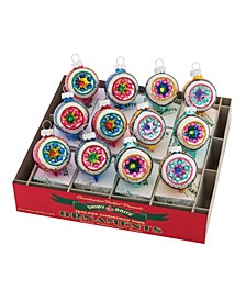 "Christmas Confetti 12 Count 1.75"" Decorated Reflector Rounds"
