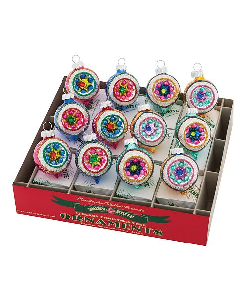 """Christopher Radko Christmas Confetti 12 Count 1.75"""" Decorated Reflector Rounds"""