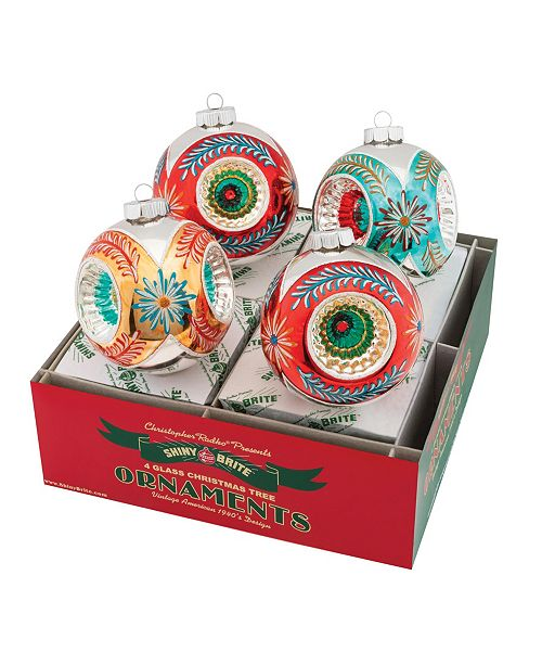 """Christopher Radko Nostalgic Holiday 4 Count 4"""" Rounds With Triple Reflector"""