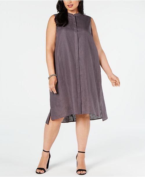 Plus Size Linen Trapeze Dress