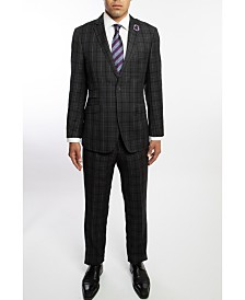 English Laundry Two Button Notch Lapel Slim Fit Men's Charcoal Grey Plaid Suit With Flat Front Pants