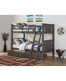 Twin Over Twin Princeton Panel Mission Bunk Bed with Dual Underbed Drawers