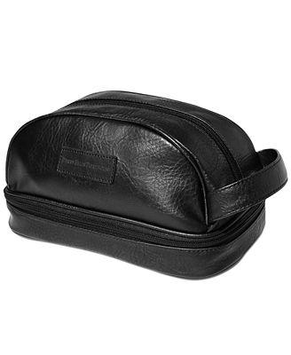Perry Ellis Men's Gift Faux Leather Portfolio Toiletry and Travel Kit