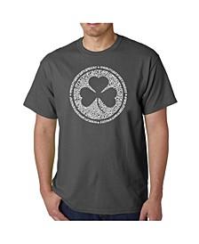 Mens Word Art T-Shirt - Irish Eyes Clover