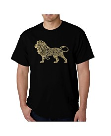 LA Pop Art Mens Word Art T-Shirt - Lion