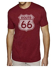 LA Pop Art Mens Premium Blend Word Art T-Shirt - Route 66