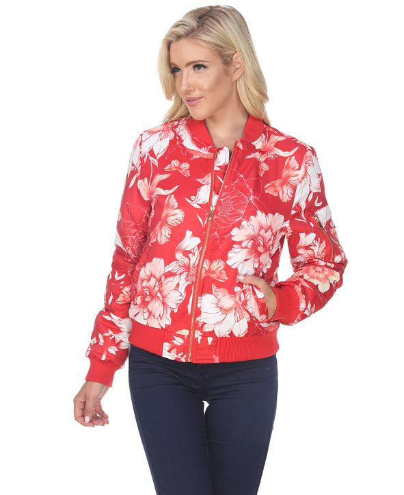 White Mark Women's Floral Bomber Jacket