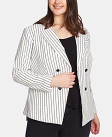 Plus Size Striped Double-Breasted Blazer