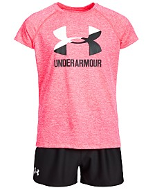 Under Armour Big Girls Logo-Print T-Shirt & Play Up Shorts Separates