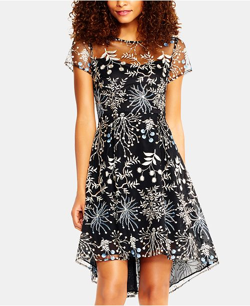 Adrianna Papell Embroidered Fit & Flare Dress