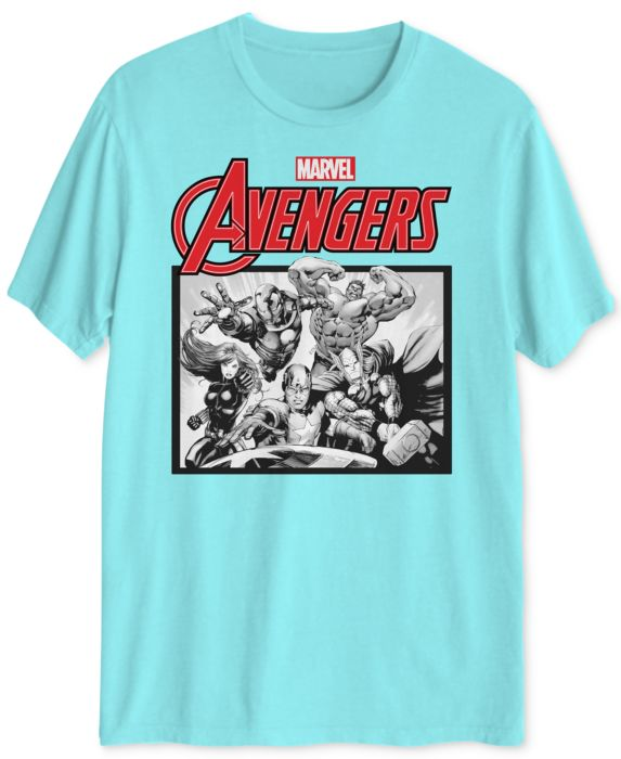 Avengers Mens Graphic T-Shirt, Blue, Size: M