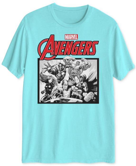 Avengers Mens Graphic T-Shirt, Blue, Size: M