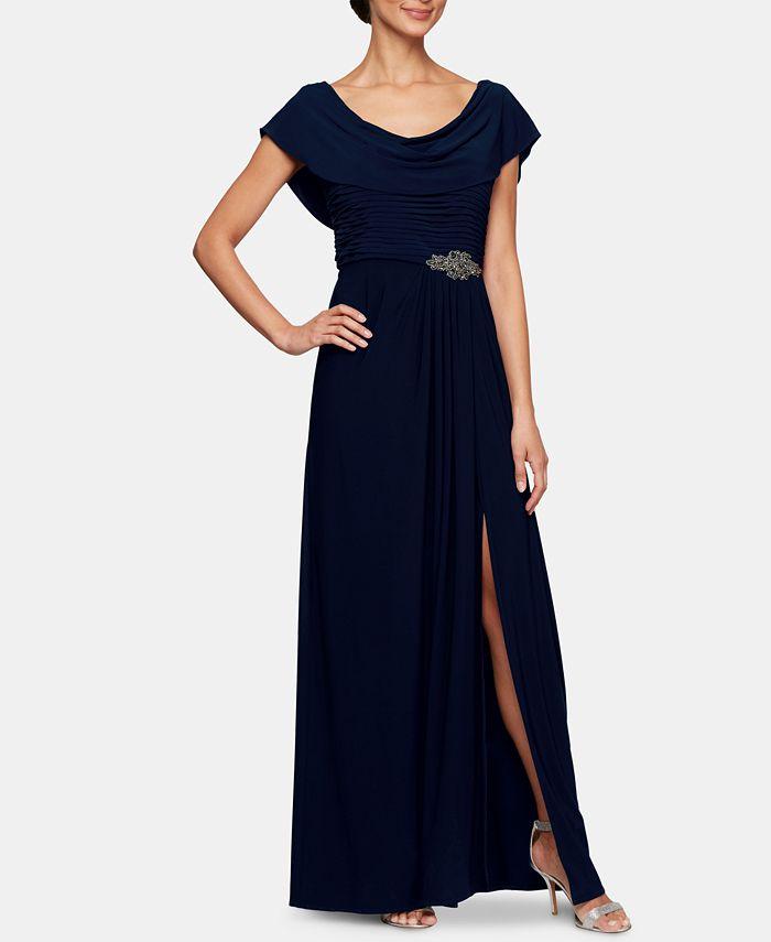 Alex Evenings - Petite Embellished-Waist Cowlneck Gown