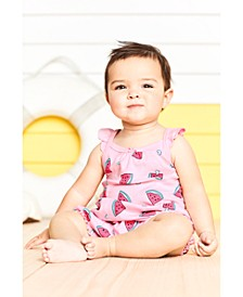 Baby Girls Watermelon-Print Cotton Romper