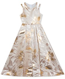 Rare Editions Big Girls Brocade Pleated Gown