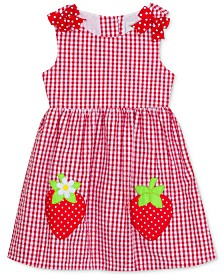 Rare Editions Toddler Girls Gingham-Print Strawberry Dress