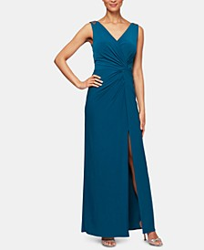 Petite Embellished Knot-Front Gown