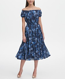 Tommy Hilfiger Floral Midi Cotton Swing Dress