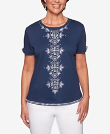 Alfred Dunner Petite In The Navy T-Shirt