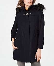 Faux-Fur-Trim Hooded Coat