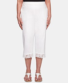 Petite Cayman Islands Lace-Cuff Cropped Pants