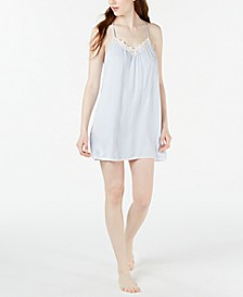 Lace-Trim Striped Chemise Nightgown