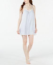 Linea Donatella Lace-Trim Striped Chemise Nightgown