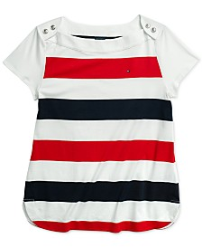 Tommy Hilfiger Adaptive Women's Striped Smith Top with Magnetic Closure