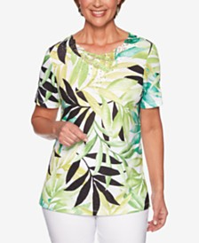 Alfred Dunner Cayman Islands Printed Embellished Lace-Detail Top