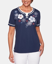 Alfred Dunner Petite In The Navy Lace-Up Crewneck Top