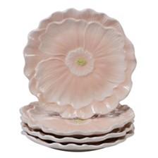 Certified International Spring Meadows 4-Pc. 3-D Pink Poppy Dessert Plate