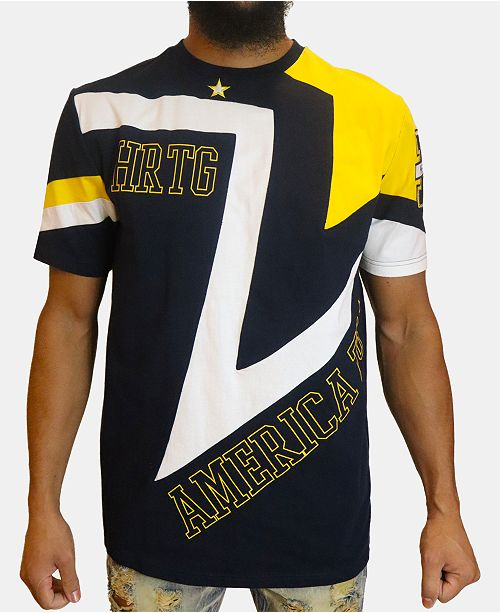 Heritage America Men's Star Pieced Colorblocked Logo Graphic T-Shirt