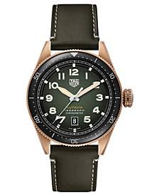 Autavia Men's Swiss Automatic Green Calfskin Leather Strap Watch 42mm