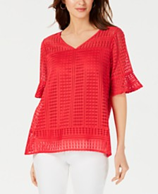 NY Collection Petite Lace Bell-Sleeve Top