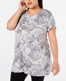 Ideology Plus Size Printed Cutout Tunic, Created for Macy's