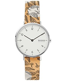 Skagen Women's Aaren Bird Print Leather Strap Watch 36mm, Created for Macy's