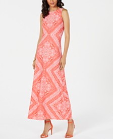 Jessica Howard Bandana-Print Maxi Dress