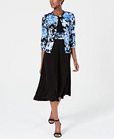 A-Line Dress & Floral Jacket