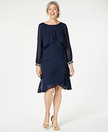 Long-Sleeve Tiered Chiffon Dress