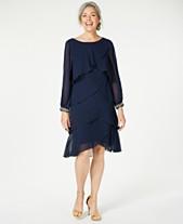 ec8eb4d10fd6 SL Fashions Long-Sleeve Tiered Chiffon Dress