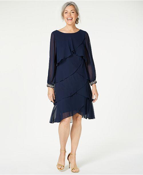 SL Fashions Long-Sleeve Tiered Chiffon Dress